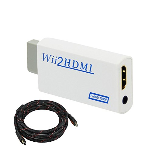 COOLEAD Convertidor Wii a HDMI Adaptador Wii2HDMI Converter Wii to HDMI Conector con Cable HDMI con Salida de Video Full HD 1080p 720p y Audio de 3.5mm para Wii U Wii Smart HDTV Monitor Proyector