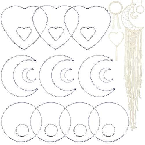 20 peças de anéis de metal apanhador de sonhos circular coração em forma de lua, anéis de argola de macramê para decoração de pendurar na parede