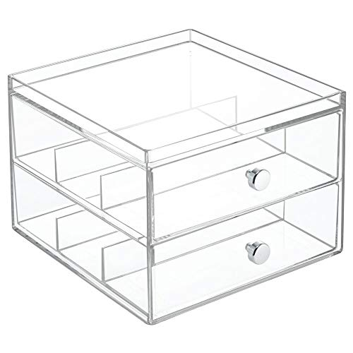 mDesign Stackable Plastic Eye Glass Storage Organizer Box Holder for Sunglasses, Reading Glasses, Accessories - 2 Divided Drawers, Chrome Pulls, 2 Pack - Clear
