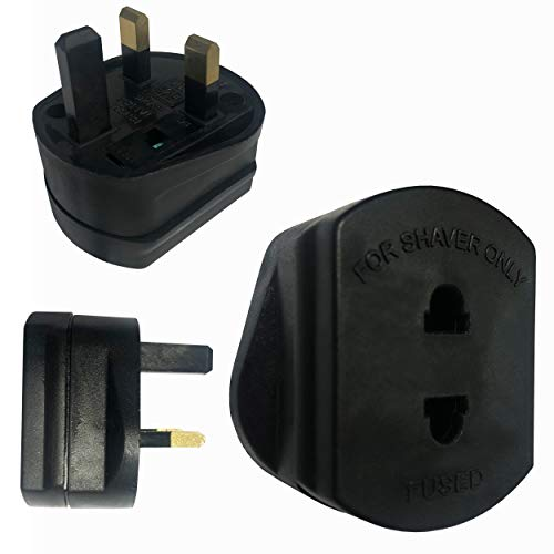 Negro 2 Pin al Adaptador de Afeitado UK / 1A Fusible Reino...
