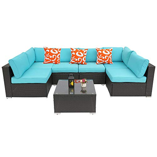 Furnivilla Outdoor 7pcs Patio Furniture Sets, All-Weather Rattan Sectional Sofa, Manual Wicker Set with Coffee Table&Washable Couch Cushions (Turquoise)