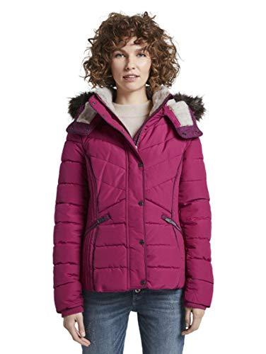 TOM TAILOR Damen Jacken Steppjacke mit Fellimitat Cherry Granita,M,12270,4000