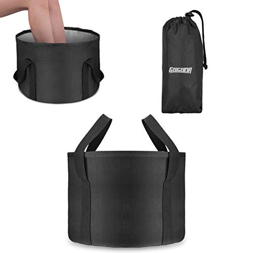 Collapsible Bucket for Foot Spa, Portable Foot Bath Pedicure Tub for Heated Foot Basin Multifunctional Folding Bathtub with Handle for Soaking Feet, Washing, Bathtub, Storage, Camping (24L, Black)
