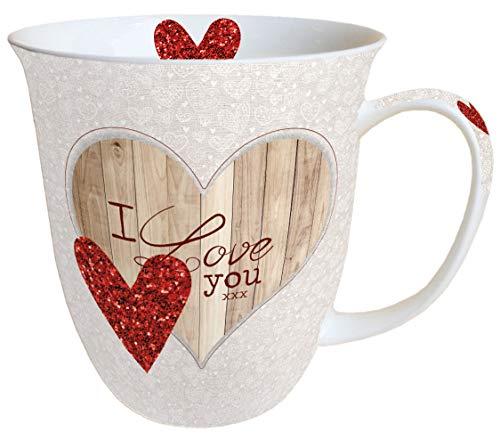 Ambiente Becher Mug Tasse Tee/Kaffee Becher ca. 0,4L Liebe I Love You