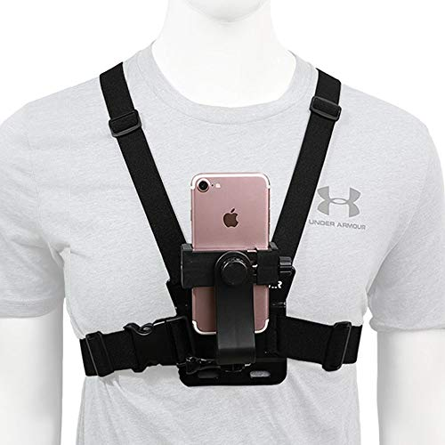 Mobile Phone Chest Strap Mount,Harness Strap Holder Universal Cell Phone Clip for Action Camera POV Compatible with Gopro Akaso Samsung iPhone etc