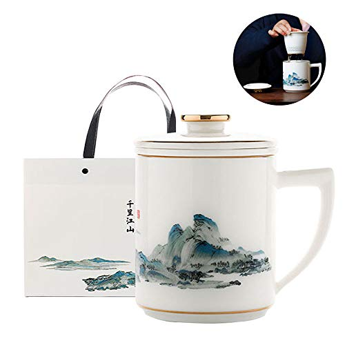 Asy Taza de té de cerámica (360ML) con infusor y Tapa Tazas con Filtro, Taza de Cerámica Tea Forté Taza de Té con Infusor y Tapa, Preparador de Té de Hojas Sueltas