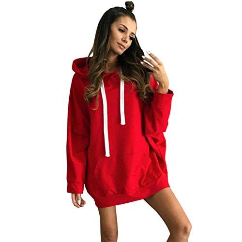 LMMVP Sudadera con Capucha Mujer Abrigos de Mujer Sexy Tops de Manga Larga Chaquetas Casuales Blusas de Mujer Mini Vestido de Noche (L, Rojo)
