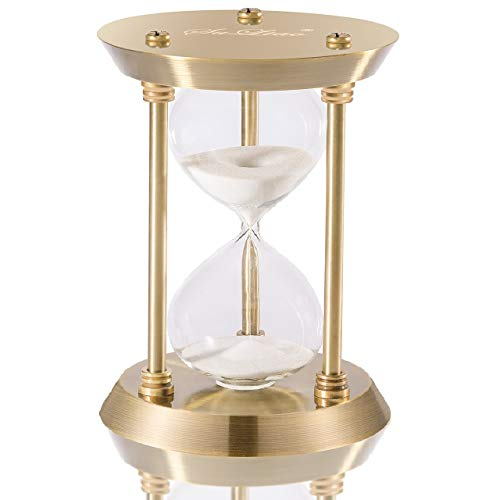 SuLiao Hourglass Timer Sand Clock with 5 Minutes & Brass Metal Hour Glass...