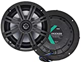 Pair of Kicker 41KM654CW 6.5' 2-Way Coaxial 4-Ohm Marine/Boat Speakers with 3/4 Inch Titanium Waterproof Tweeters - 95 Watts Peak/65 Watts RMS Each Speaker / 390 Watts Peak/130 Watts RMS Per Pair