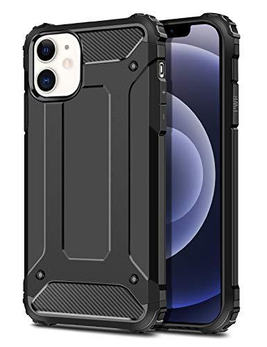 Coolden Kompatibel mit iPhone 12 Mini Hülle 5.4 Zoll Handyhülle,[Armor Serie] Outdoor Stoßfest Panzerhülle Doppelschichter Schutzhülle Case Hard PC Back + Soft Silikon Bumper Cover - Schwarz