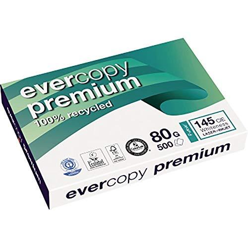Clairefontaine 1902C Recyceltes Evercopy Druckerpapier blickdichtes Kopierpapier in Premium Qualität, 80 G, 500 Blatt, weiß