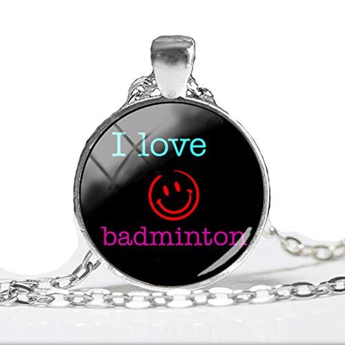 2018 Neue I Love Badminton Anhänger Halskette Badminton Anhänger rund Glas Kunst Bild Ketten Handwerk Schmuck