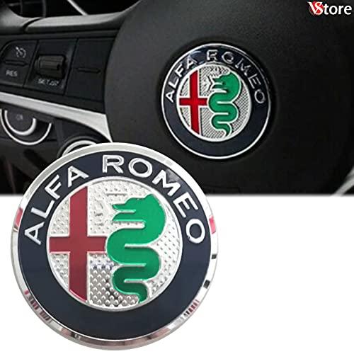 Logo per Volante Sterzo FREGIO Stemma Per Alfa Romeo MY 2016 Verde Blu Logo 40mm Giulietta, Mito, 147, 159, 156, 4c, Brera