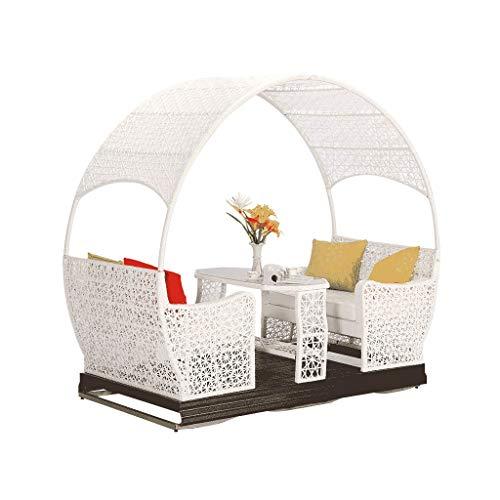 Schaukelstuhl Draussen Swing, Rattan Wasserdicht Hoher Rückstoß Polster  Terrasse Sessel (Farbe : Weiß)