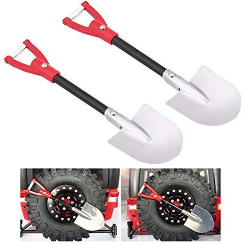 2 Pack Metall RC Car Shovel, Simulation Dekoratives Werkzeug Zubehör für 1:10 Tamiya CC01 Axial SCX10 RC4WD D90 D110 Fernbedienung Crawler Car