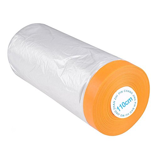 Pre-Taped Masking Film, Car Furniture Protection Covering Cloth, Adhesive Plastic Painting Drop Film (3.6 Ft X 65 Ft)