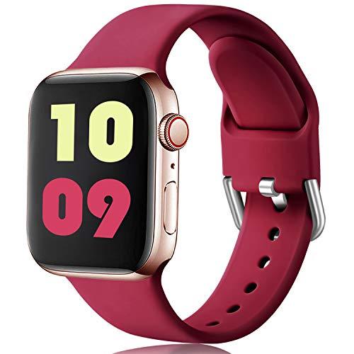 Ouwegaga Kompatibel mit Apple Watch Armband 38mm 40mm 42mm 44mm, Weiches Silikon Sport Ersatzband Kompatibel mit Apple Watch SE/iWatch Series 6/5/4/3/2/1, 38mm/40mm-S/M Wein Rot
