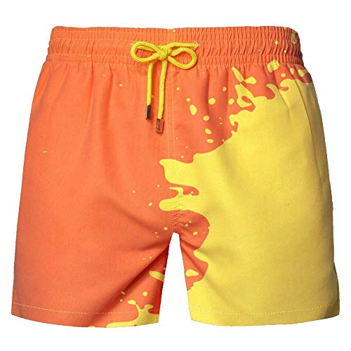 ELECTRI Magical Change Color Shorts De Plage Pour Hommes,Maillot De Bain à Couleur Changeante,Short De Natation D'été Pour Hommes à Décoloration Sensible à La Température à Séchage Rapide (Green, 2XL)