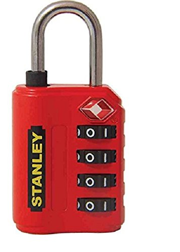 Stanley S742-058 Candado de combinación de 4 dígitos con indicador de seguridad, Rojo, 30 mm