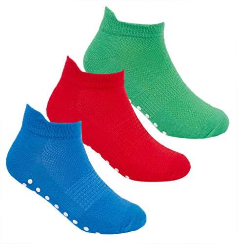 JollyRascals 3 paar jongens sokken nieuwe kinderen Gripper Trainer sportsokken Liners Trampoline non-slip jongen 3 PACK sokken zwart Multi rood groen blauw UK maten 6-8.5 9-12 12.5-3.5 en 4-6