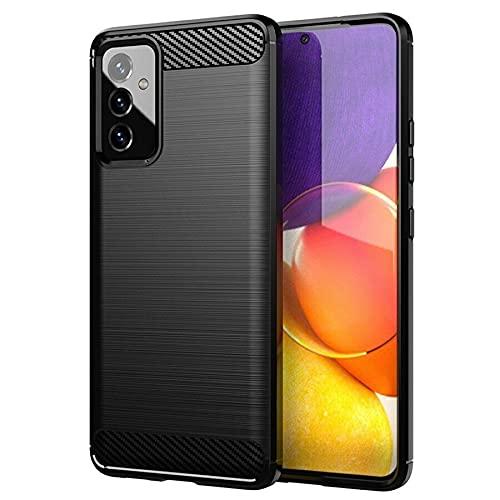 Toppix Compatible con Samsung Galaxy A82 5G, funda de teléfono móvil de silicona TPU suave antigolpes [textura de fibra de carbono] Cover funda protectora para Samsung Galaxy A82 5G, color negro