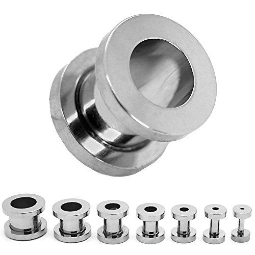 Expansor Túnel Flesh Tunnel Plug Piercing Dilatación Oreja Acero Set o Pieza 1.6-10mm Color Plata, Farbe2:plata - 1.6mm - 10mm