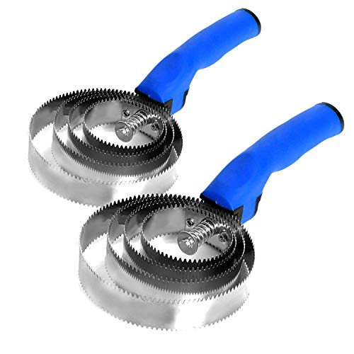 BOTH WINNERS 2 Pack Reversible Stainless Steel Curry Comb with Soft Touch Grip