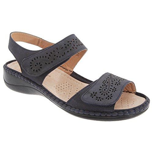 Boulevard mujeres/señoras toque cierre halter espalda sandalias, color Azul, talla 42 EU