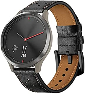 Smart Accessories - Leather Strap For Vivo Active 3 For Vivo Move HR Watch Strap First Layer Leather Wristband (Black)
