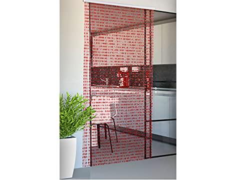 Biancheriaweb Rideau de Porte Anti-Mouches, Rouge, 120 x 220 cm, 80 Fils, Rideau à Perles tombées, Rideau de Porte, Panneau avec Support en PVC