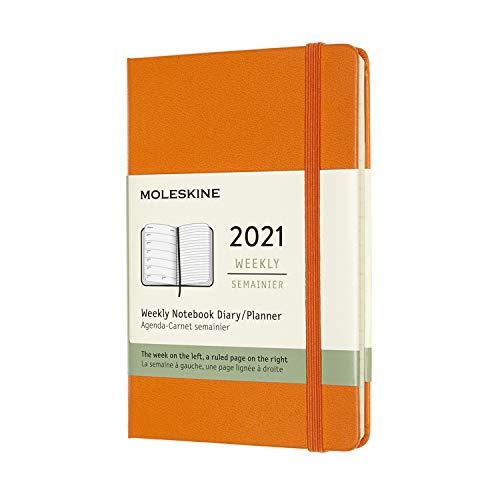 Moleskine Wochenkalender 2021, 12 Monate Wochenplaner, Wochenkalender und Notizbuch, fester Einband, Format Pocket 9 x 14 cm, Farbe cadmiumorange, 144 Seiten