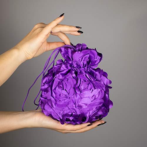 Satin Beutel Brautbeutel Braut Party Handtasche Organza Tasche lila violet magenta