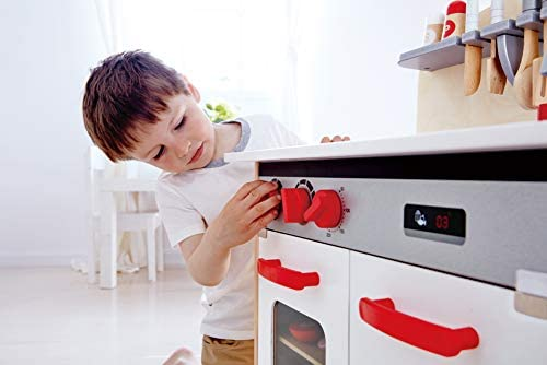 Hape Gourmet Kitchen Toy Fully Equipped Wooden Pretend Play Kitchen Set with Sink, Stove, Baking Oven, Cabinet, Turnable Knobs & Spice Shelf, Red