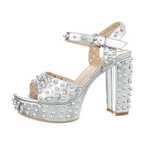 Ital Design Damenschuhe Sandalen & Sandaletten High Heel Sandaletten Synthetik Silber Gr. 36