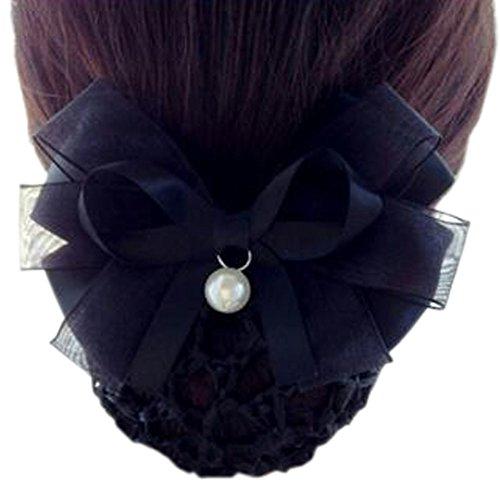 Maillot élastique à la mode pour dames Maillot de cheveux Hair Snood Bowtie Mesh, 2 Noir