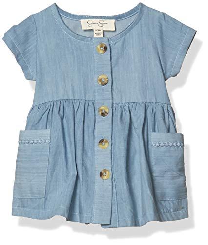 Jessica Simpson Baby-Mädchen Casual Dress Freizeitkleidung, Gestreifte aufgesetzte Taschen, leicht waschen, 12M US