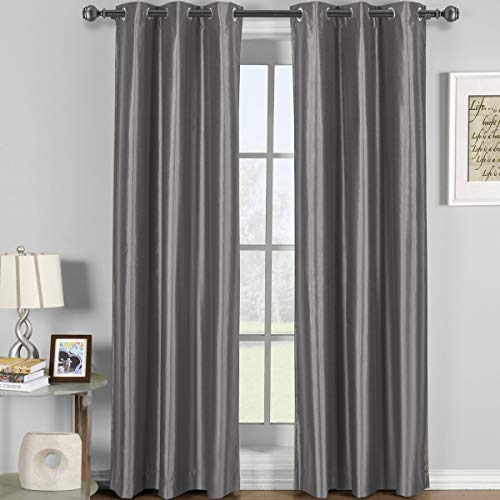 Soho Gray Grommet Blackout Window Curtain Panel, Solid Pattern, 42x84 inches, by Royal Hotel