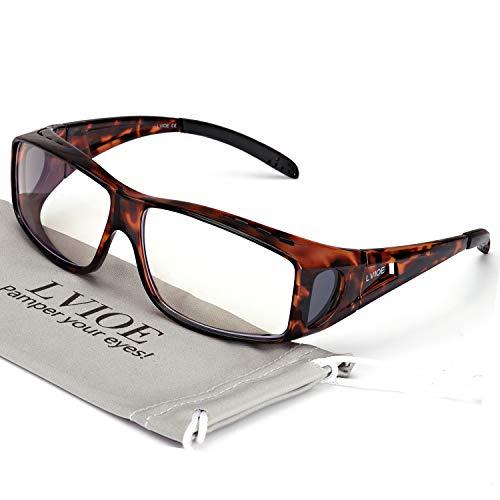 LVIOE Überziehbrille Blaulichtfilter Computerbrille, Brille Anti Blendung Blau Strahlen Verringerung der Augenbelastung, Brille für Damen und Herren