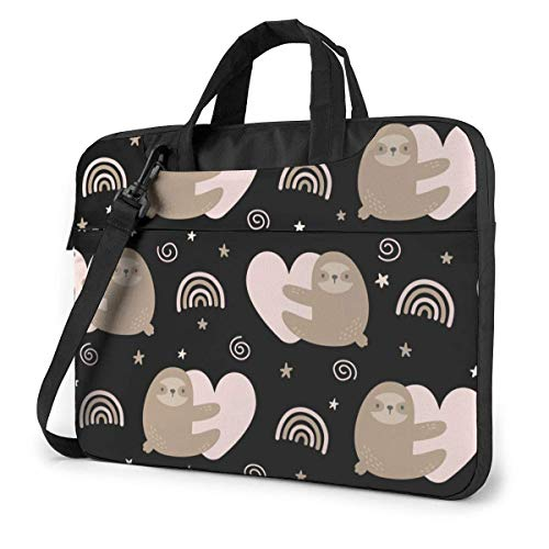 Cute S-loth Hugging Pink Heart with Rainbow 15.6 in Laptop Bag Computer Protective Cover Handbag Shoulder Bag