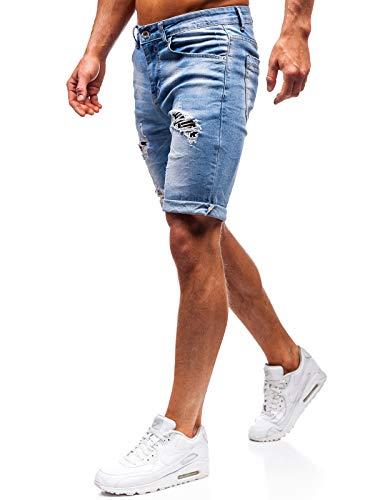 BOLF Hombre Pantalón Corto Vequero Denim Regular Pantalón de Algodón Estilo Diario 6F6