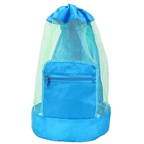 GeekerChip sandspielzeug Netztasche,Mesh Beach Bag für Sandspielzeug Wasserspielzeug,Strandtasche Spielzeug Rücksack,schnell trocknendes,für Familie Urlaub(Blau)