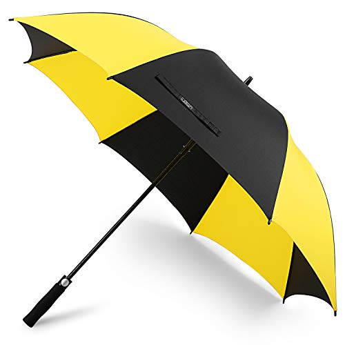 G4Free 68 Inch Automatic Open Golf Umbrella Sun Protection Windproof Oversize Large Waterproof Stick Umbrellas(Yellow/Black)