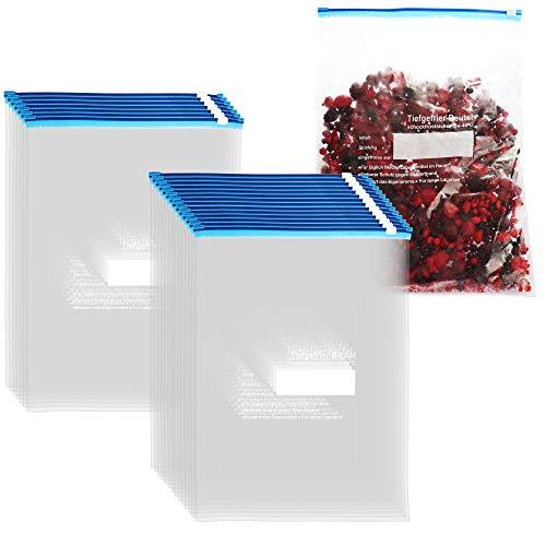 com-four® 21x Gefrierbeutel 6 Liter zum Verschließen, wiederverschließbare Frischhaltebeutel zur Lebensmittelaufbewahrung - Allzweckbeutel für Aromaschutz und Vitaminfrische bis -40°C (6 L - 21 Stück)