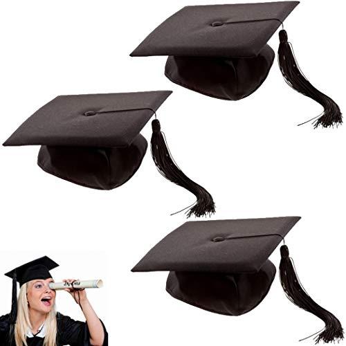 marion10020 Kostümzubehör: 3er-Set Doktor-Hut Akademiker Absolventen-Hut Doktorhut mit Quaste, Einheitsgröße, für Fasching Karneval