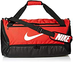 Nike Brasilia Training Medium Duffle Bag, Durable Nike Duffle Bag for Women & Men with Adjustable Strap, University Red/Black/White