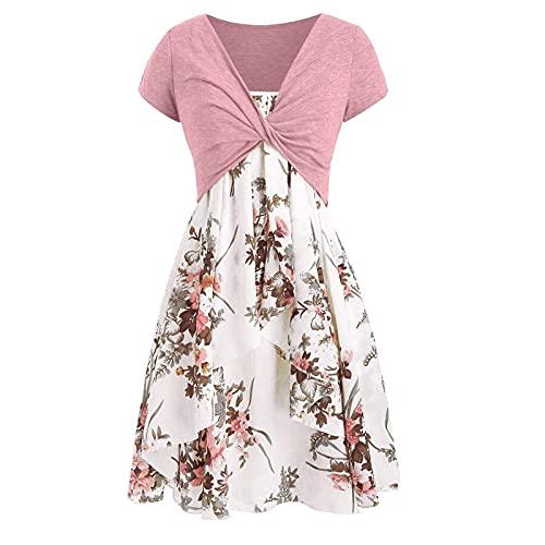 RoMantic Kleid Damen Knielang Elegant Vintage Retro Sommerkleider V-Ausschnitt Cocktailkleid Partykleid Maxikleid Strandkleid Locker Blusenkleid...