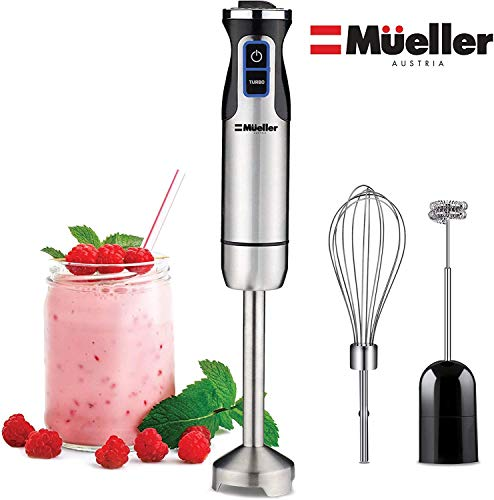 Mueller Austria Ultra-Stick 500 Watt 9-Speed Immersion Multi-Purpose Hand Blender Heavy Duty Copper Motor Brushed 304 Stainless Steel With Whisk, Milk Frother Attachments, BPA-Free