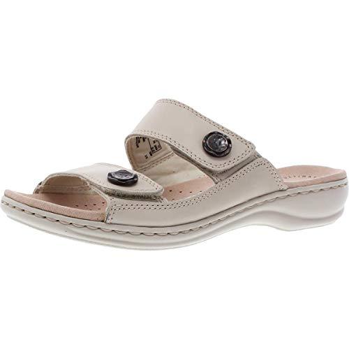 Clarks Women's Leisa Glow Slide Sandal, Ivory Leather, 5.5