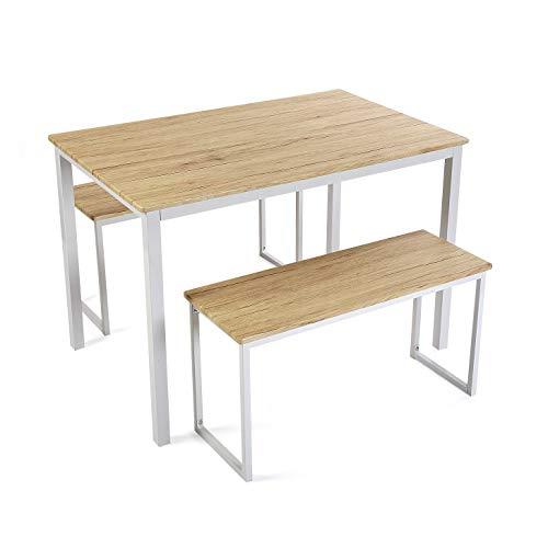 Versa Taline Set de Mesa de Comedor con Dos Bancos, Set de 3 piezas, Medidas (Al x L x An) 76 x 70 x 110 cm, Madera y Metal, Color Blanco
