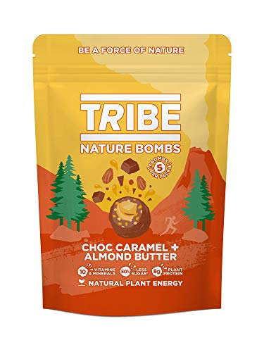TRIBE Protein Balls - Choc Caramel + Almond Butter Sharing Bag - Vegan, Gluten & Dairy Free, Protein Nature Bombs (7 x 100g)